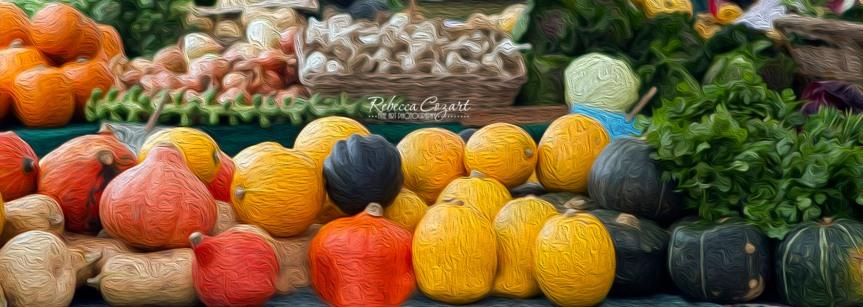 Market pumpkins oil paint