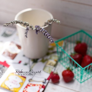 STILL LIFE - Lavender still life in small white vase with strawberries