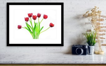 red tulips desk